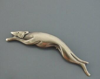 Vintage Brooch - Greyhound jewelry - Dog jewelry - Vintage Brass jewelry - Handmade jewelry