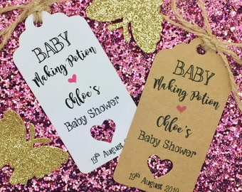 Baby Shower Champagne Favour Gift Tags, Christening Day, Baby is Coming, Cheers Tags
