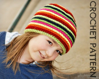 CROCHET HAT PATTERN Kid's Strata Beanie