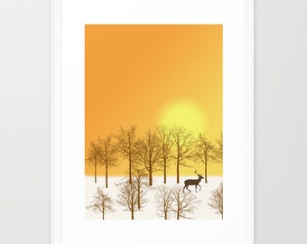Deer in the forest decorative art print-Wild animal print-Cool snow poster-Yellow Large Print-Panorama Glicee Art Print-Colourful print