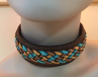 handmade necklace Real leather choker vintage