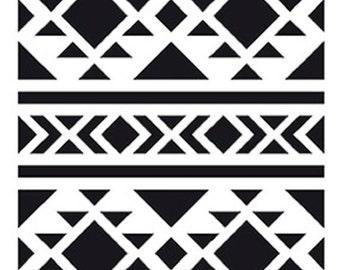 Stenciled geometric Tribal 10 x 15 cm - stencil-ethnic - Tribal Stencil