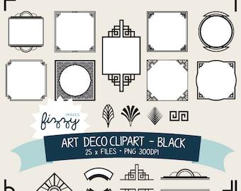 PNG: 25 x Art Deco 1920s 1930s Black Clipart and Borders - Digital files PNG 300dpi. CA0061