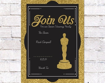 Oscar Party Invitation *INSTANT DOWNLOAD - You Edit* - Academy Awards. DIY Oscar Viewing Party Invite. Four Versions / Print Yourself.