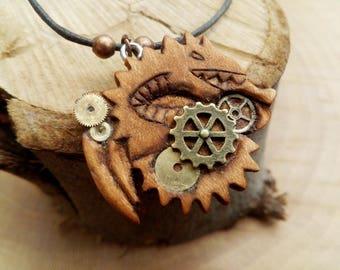 BLACK FRIDAY SALE! ! Steampunk Dragon Necklace, Steampunk Dragon Jewelry, Wood Jewelry, Wood Pendant, Steampunk Pendant, Dragon Pendant