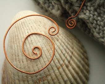 Spiral copper shawl pin