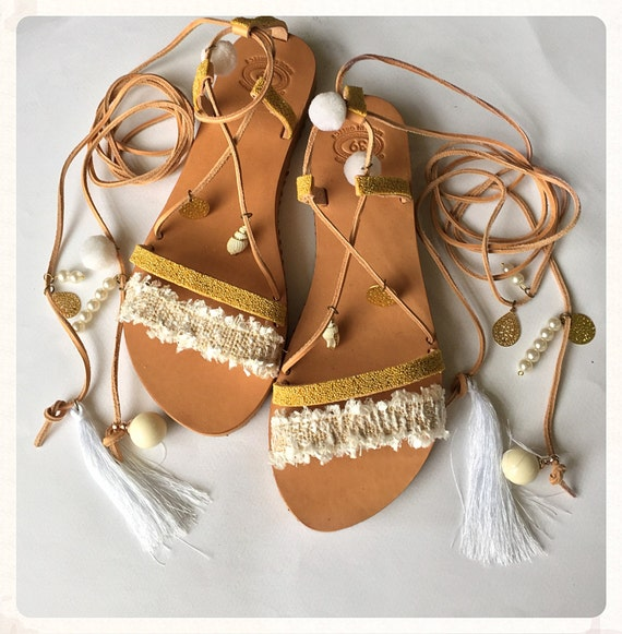 Boho Worldwide Pom BridalSandals WeddingTie Luxury Sandals Sandals ''Anais' Up FREE SHIPPING Pom Sandals nYUTw8qxP