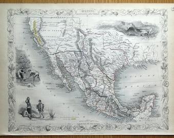 MEXICO, California and Texas, USA, Rapkin &  Tallis original antique map 1851