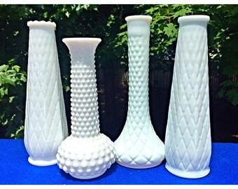 Grouping of 4 Vintage White Milk Glass Flower Bud Vases, Vintage Wedding Decor, Shabby Chic Decor, Bud Vases