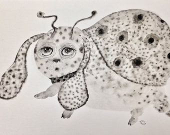The Coccichien painted creature, ink and wash