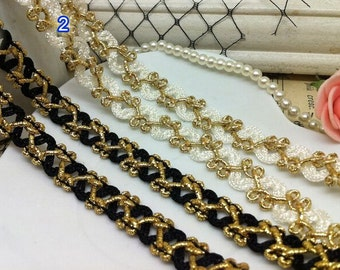 """10 yard 1cm 0.39"""" black ivory gold silver tapes braided lace trim ribbon afer free ship"""
