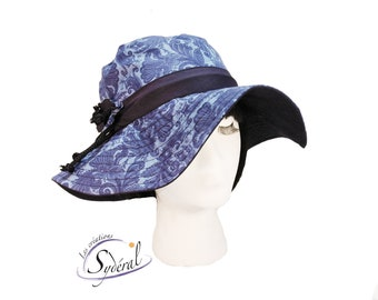 Ladies summer hat, blue coton hat, beach hat, travel hat, big capeline, women summer hat, women capeline, sun hat, sun capeline,