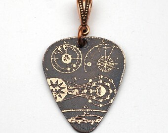 Galaxy guitar pick pendant, etched copper jewelry, 30mm