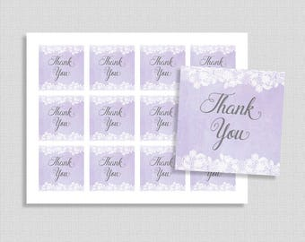 Lavender Favor Tags, Lavender & White Lace Shower Party Favor Tags, Baby, Bridal, INSTANT PRINTABLE