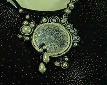 Black with White Pearl Soutache Necklace