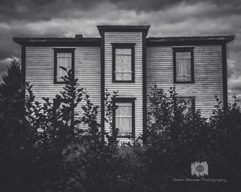 Abandoned House Photo Print Black and White Photographic Wall Print