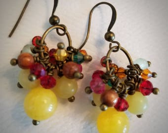 Bunches of Swarovski gems and yellow jade cluster earrings