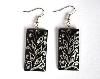 monochrome Silver and Black earrings birthday gift idea for her wife gift ethnic jewelry Black and white paint earrings handmade earrings