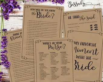 Bridal Shower Games Pack - INSTANT DOWNLOAD - Printable Brown Kraft Paper Look Wedding Shower Game Set, He Said She Said, Know the Bride