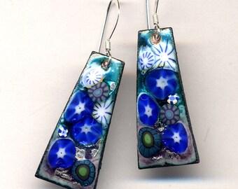 Enamel Earrings, Sterling Silver Earrings, Teal blue Green Earrings, Floral 925 Earrings, Unique Enamel earrings, Turquoise Cooper Earrings