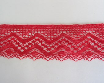 Cotton sheer lace red height 4.5 cm same as front/back - ref C2