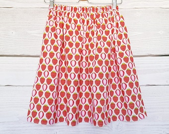Strawberry Skirt with elastic waist, skirt woman teen pastel cotton Strawberry