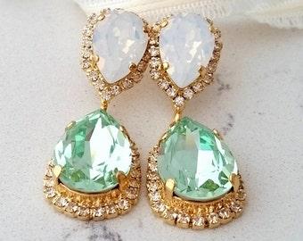 Opal earrings,Mint earrings,White opal earrings,Bridal chandelier earrings,Statement earring,Swarovski crystal earring,Bridesmaid gift