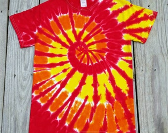 Plus Size Adult Red Orange Yellow Tie Dye Tshirt, 2XL 3XL 4XL 5XL 6XL, Mens Tie Dye, Womens Tie Dye, Hippie Shirt, Tie Dye Shirt