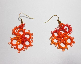 Tatted Earrings - Tatted Lace Earrings - Tiger's Eye  - Your Color Choice - Made to Order