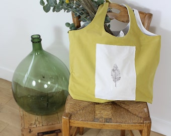 Large Yellow Market Bag / Yellow Beach Bag / Fashion Accessory / Yellow Canvas Tote Bag / Large Original Size Shopping Bag / Gift Evjf