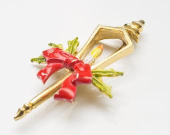 Large Signed ART Vintage Christmas Holiday Lamp Post Pin Brooch