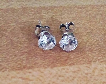 1 ctw Diamond Simulant Solid Sterling Stud Earrings. Round 5mm