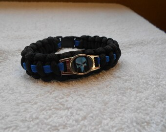 The Punisher Series - Charm # 3C (Blue) - Paracord Bracelet - Hand Made