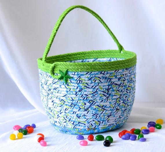 Boy Easter Bucket, Handmade Blue Easter Basket, Boy Keepsake Basket, Lego Storage, Easter Egg Hunt Bucket, Jelly Bean Bucket