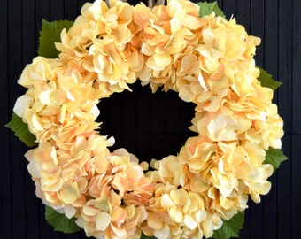 Yellow Hydrangea Spring and Summer Front Door Wreath