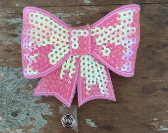 Light Pink sequin bow ID badge reel holder retractable clip