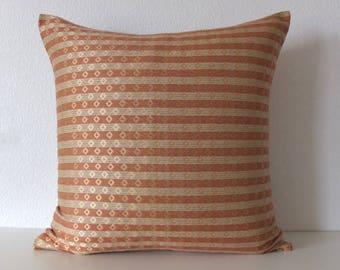 Silk and Linen Clay Gold Diamond Pillow Cover