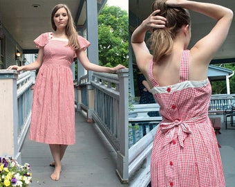 50s GINGHAM SUNDRESS Vintage Red Print Checked Cotton FROCK Removable Collar Cover-up shoulder Wings Medium Women's Picnic Summer Day Dress