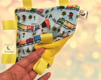 Crinkle Toy, Trains, All Aboard, Taggie Toy, Taggie, Sensory Toy
