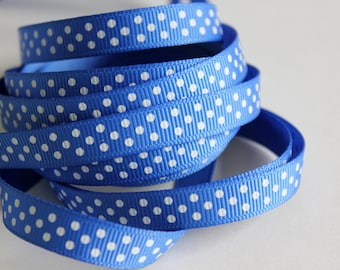 "3/8"" Grosgrain Ribbon Swiss Dots - Royal Blue - 25 yard Spool"