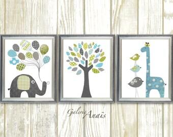 Blue green and gray Nursery art baby nursery decor nursery print Kids art elephant giraffe bird Tree Set of three prints