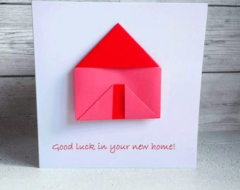 Greetings Card - New Home - removeable origami house, new home card