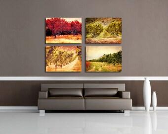 Country Decor, Canvas Set of 4, Canvas Wall Art, Rustic Wall Decor, Living Room Wall Art, Farmhouse Decor, Canvas Wraps - Orchard Canvas Set