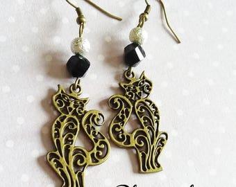 Bronze cats Arabesque earrings