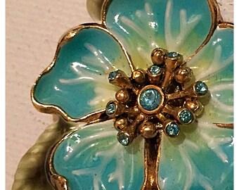 Monet Enamel Flower Brooch, Monet Vintage Flower Pin, Blue Green Flower Pin by Monet