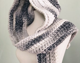 CLEARANCE Grey Marble Hooded Scarf