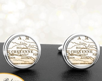 Map Cufflinks Cheyenne WY Cuff Links State of Wyoming for Groomsmen Wedding Party Fathers Dads Men