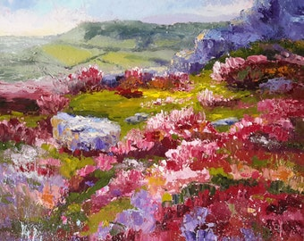 Original oil painting, Heather Moors, by Marion Hedger, English Landscape, Impressionist Landscape, Palette Knife painting, 12x12inch
