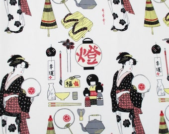 Fabric, Geisha Coterie White, Japanese Household, Alexander Henry Asian Indochine, One Yard or More
