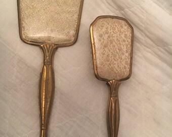Vintage matching Vanity Brush and Mirror set